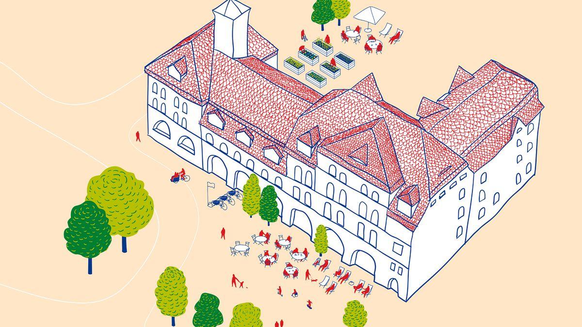 Skizze der alten Feuerwache in Fürth