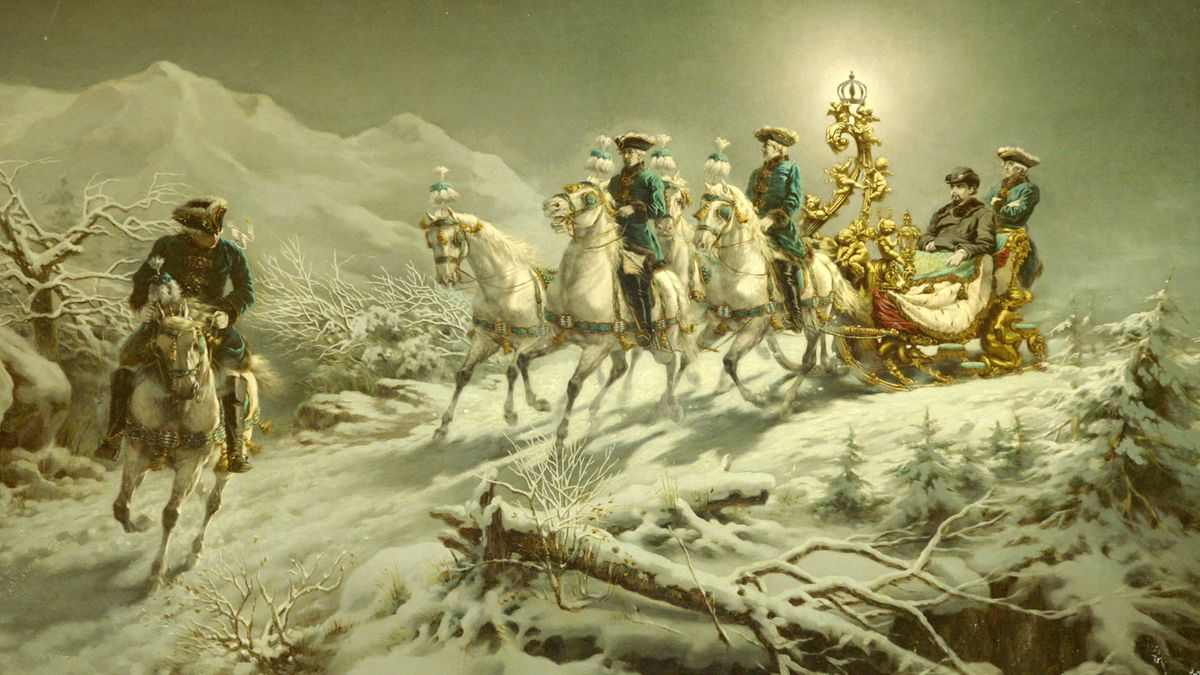 Der Prunkschlitten König Ludwig II., der durch die verschneite Landschaft des Graswang-Tals bei Linderhof fährt