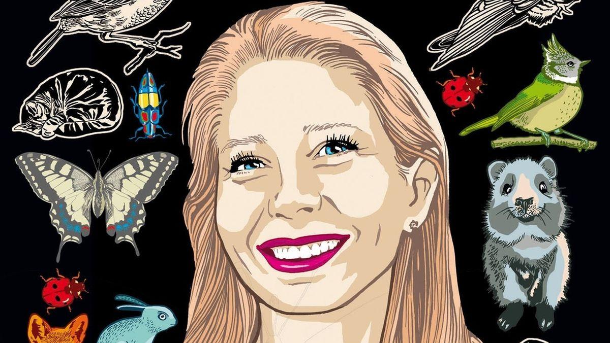 Selbstporträt der Illustratorin Kat Menschik mit Tieren vor schwarzem Hintergrund