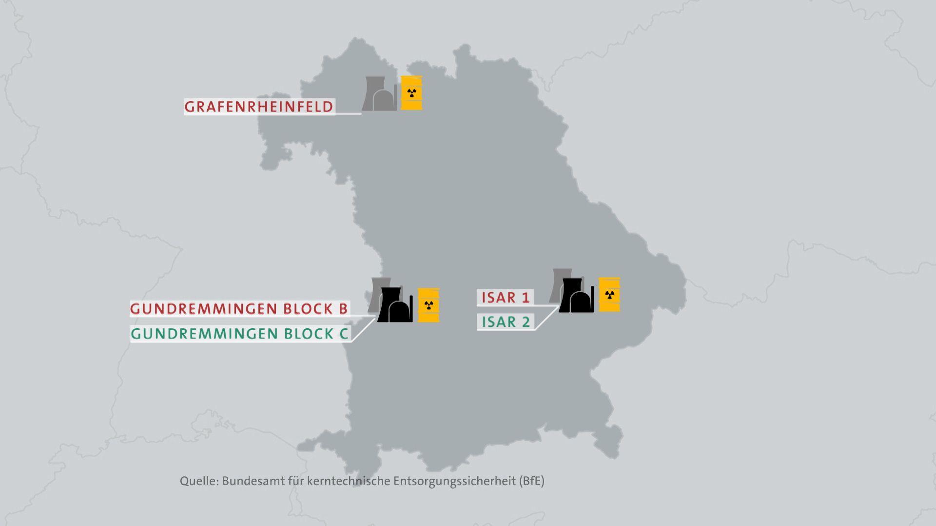 Zwei Kernkraftwerke produzieren Strom (grün). Drei Werke sind abgeschaltet (rot). An den Orten befinden sich auch Zwischenlager (gelbe Fässer).