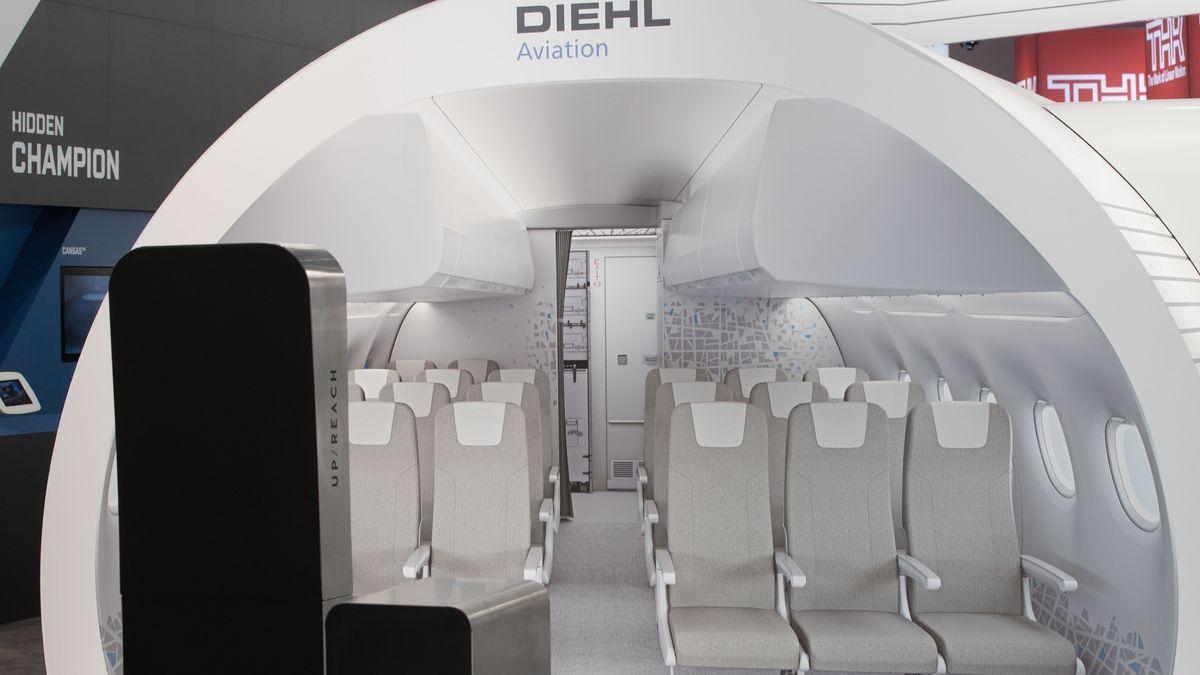 2019 wurden am Messestand von Diehl Aviation auf der Fachmesse Aircraft Interiors Expo in Hamburg neue Ausrüstungsteile für die Passagierkabine vorgestellt.