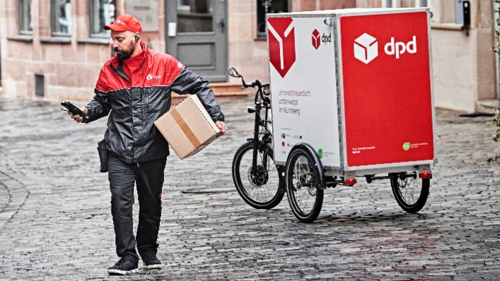 Ein DPD Lastenrad in Nürnberg