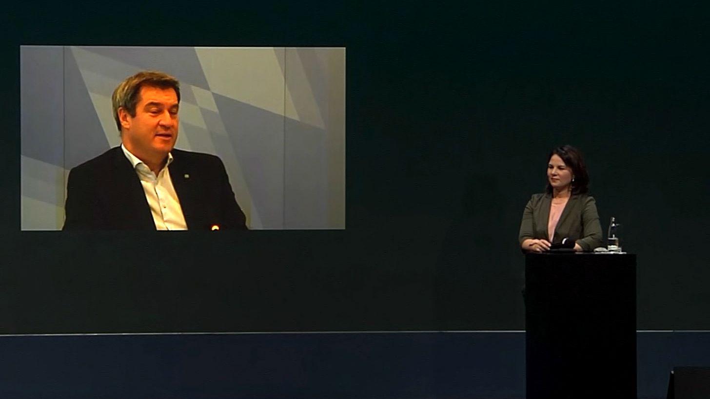 Im Bundestagswahlkampf 2021 hält CSU-Chef Markus Söder die Grünen für die Hauptkonkurrenten der Union.