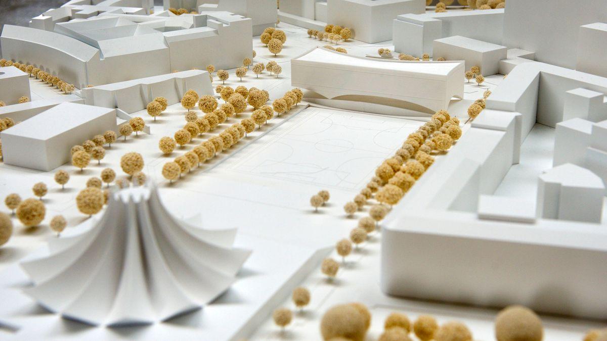 Modell des Siegerentwurfs der Architektin Dorte Mandrup für das Exilmuseum, das in Berlin in unmittelbarer Nähe zum Anhalter Bahnhof bis 2025 entstehen soll.
