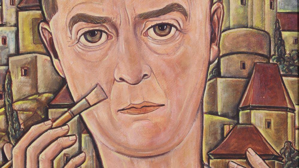 """Gemälde von Georg Philipp Wörlen, """"Selbstbildnis mit Pinsel vor den Passauer Burgen"""" (1933): Der Maler zeigt sich, den Pinsel ans eigene Gesicht haltend, vor der Kulisse der Passauer Burgen"""