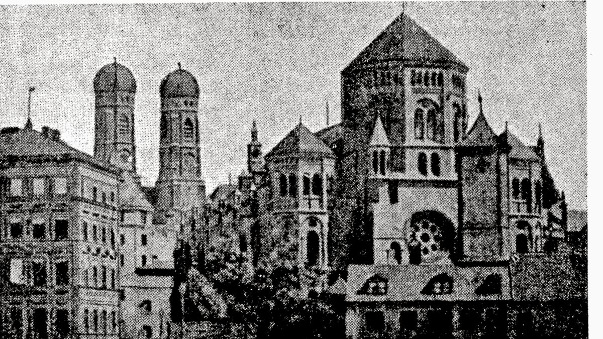 Bild der Münchner Synagoge am Vorabend der Zerstörung im Juni 1938.