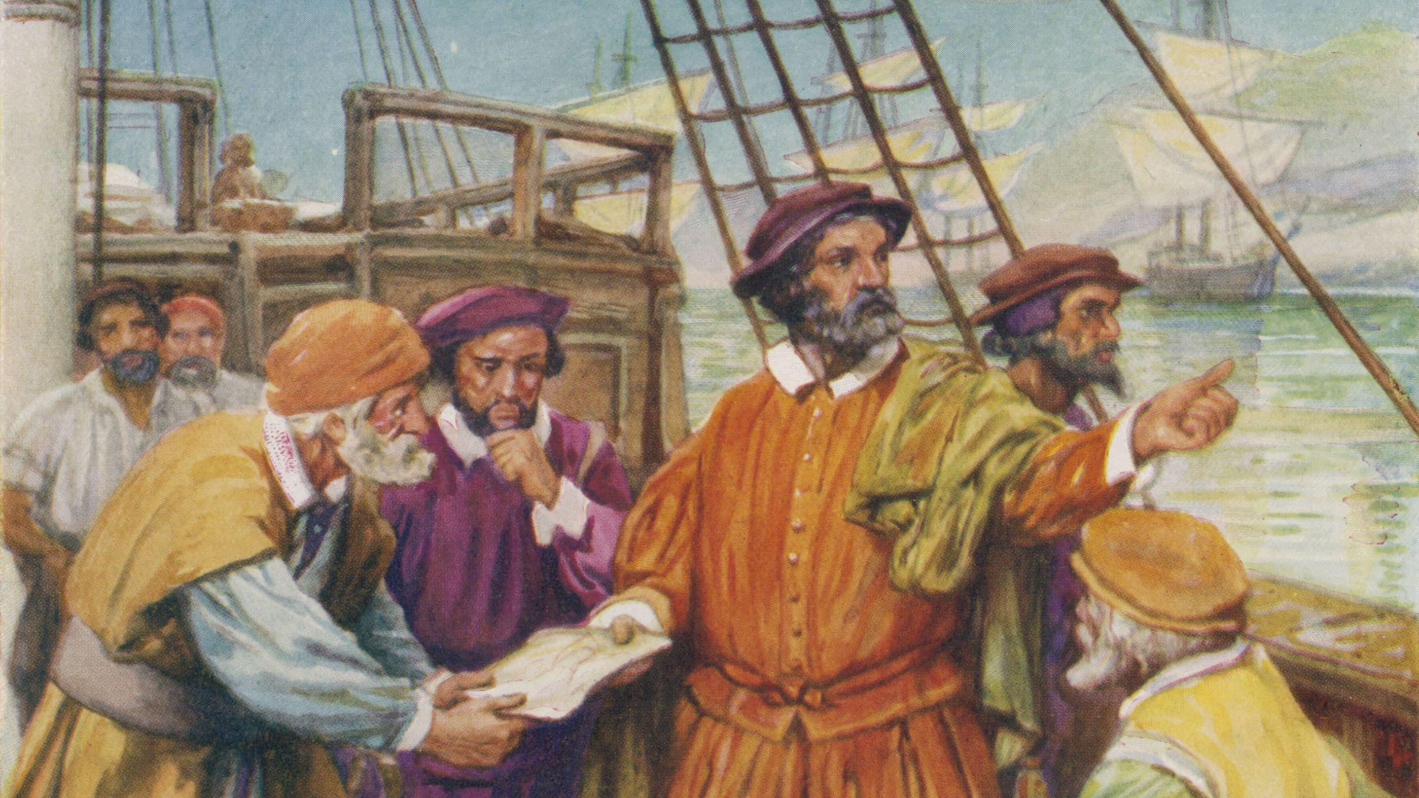 Die Zeichnung veranschaulicht, wie sich Ferdinand Magellan mit seiner Mannschaft berät, um eine westliche Route zu den Gewürzinseln zu finden.