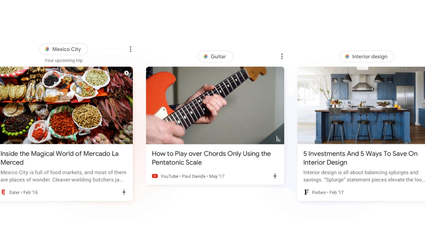 """Verschiedene Themen in Googles neuem """"Discover""""-Feature"""