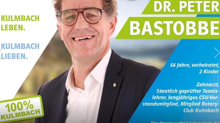 Peter Bastobbe auf einem Plakat der CSU zur Kommunalwahl 2020.