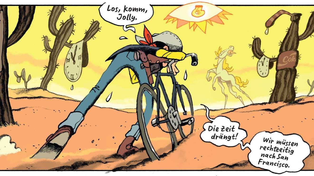 """Eine Wüste mit großen Kakteen. Lucky Luke beugt sich über ein Fahrrad und sagt: """"Los, komm, Jolly. Die Zeit drängt! Wir müssen rechtzeitig nach San Francisco."""" In der Ferne erscheint eine Fata Morgana des Pferdes Jolly Jumper."""