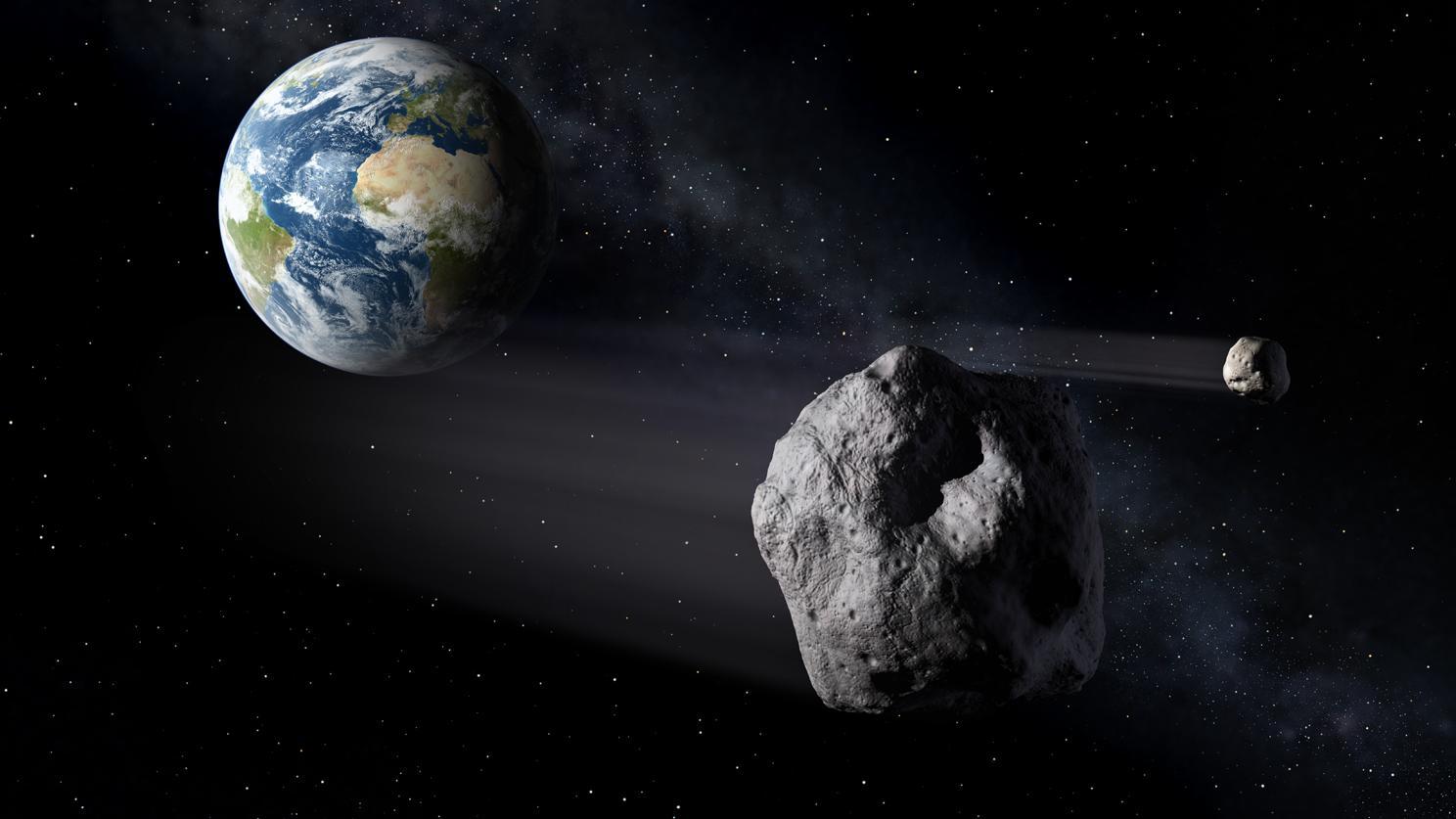 """Der Asteroid """"Didymos"""" und sein Zwillingsasteroid """"Didymoon"""" begegnen der Erde, Animation der ESA"""