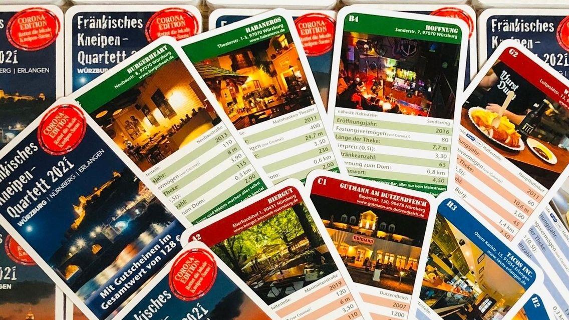 Das Kneipenquartett gibt es in drei Variationen mit je 32 Karten: für Würzburg, Nürnberg und Erlangen.