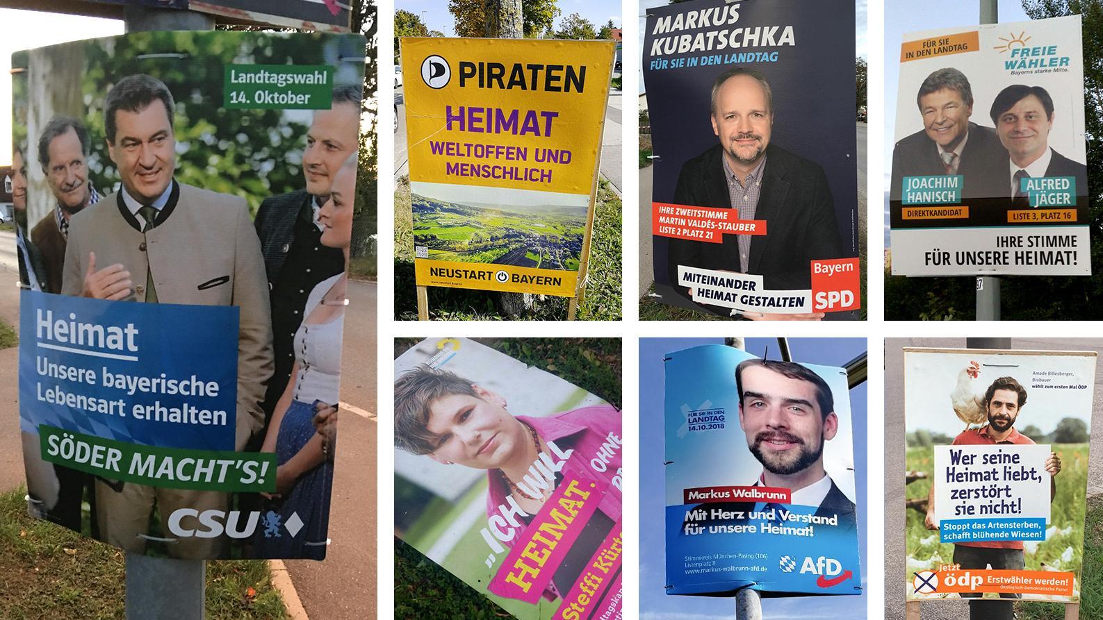 Wahlplakate mit dem Thema Heimat
