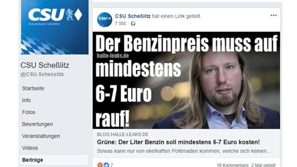 Screenshot des Facebook-Posts der CSU - Scheßlitz mit der Falschbehauptung über Anton Hofreiter.