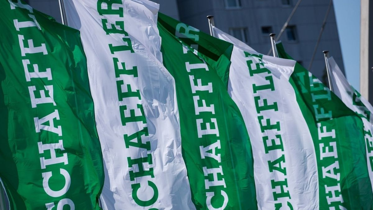 Grün-weiße Fahnen mit Aufschrift Schaeffler