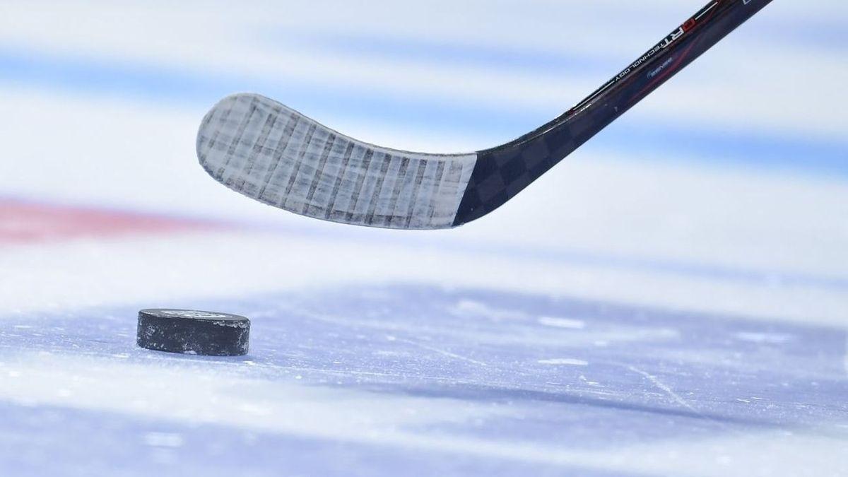 Ein Eishockeyschläger und ein Puck auf dem Eis.