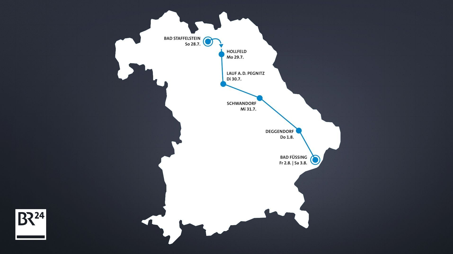 Die Route der 30. BR-Radltour
