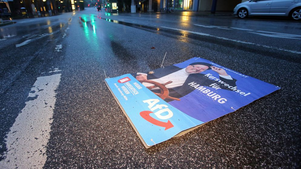 Ein Wahlplakat der AfD liegt auf einer Hamburger Straße | Bild:pa / dpa / Bodo Marks