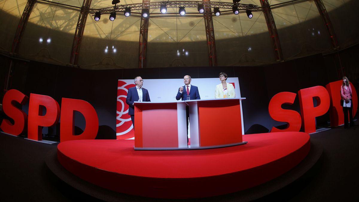 Olaf Scholz heute auf der PK, bei der er als Kanzlerkandidat der SPD vorgestellt wurde.