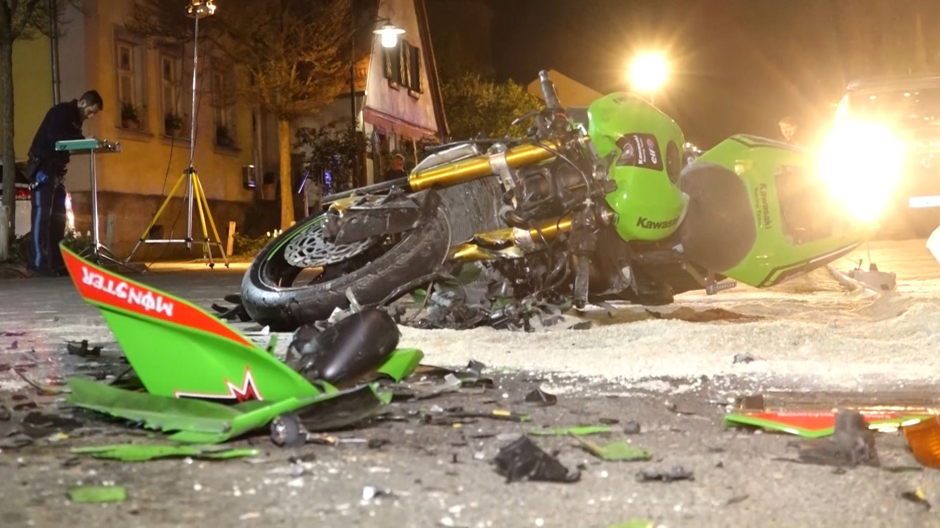 Das verunfallte Motorrad in Buttenheim