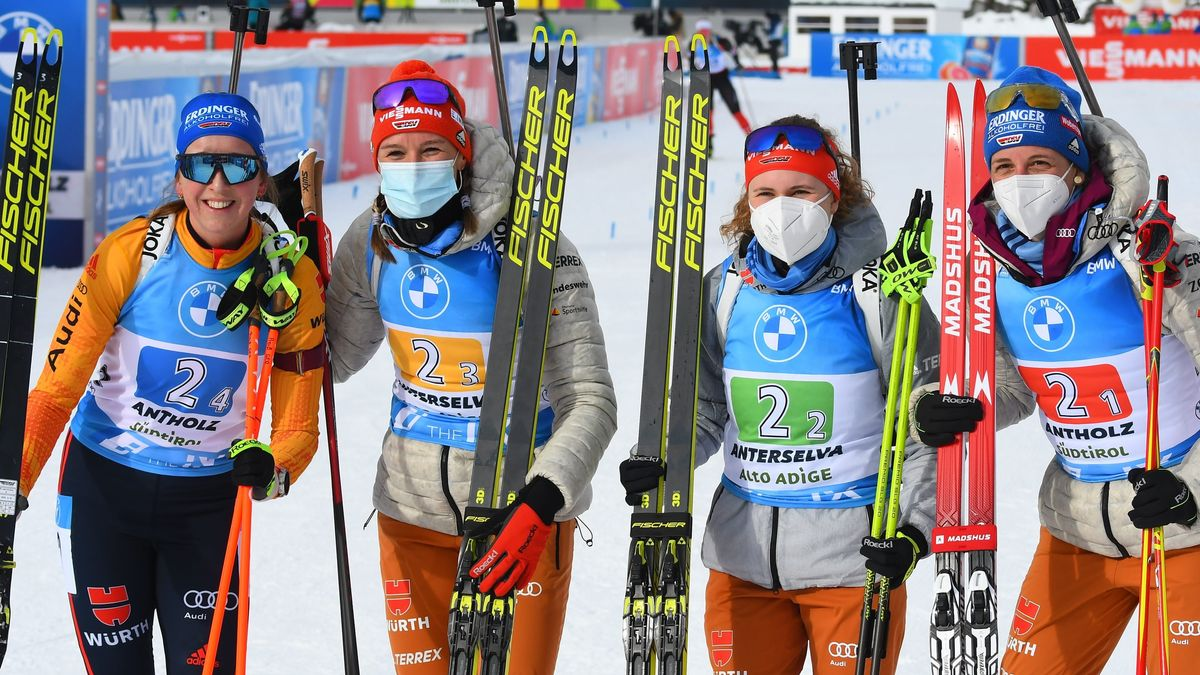 Die deutsche Biathlon-Staffel der Frauen in Antholz