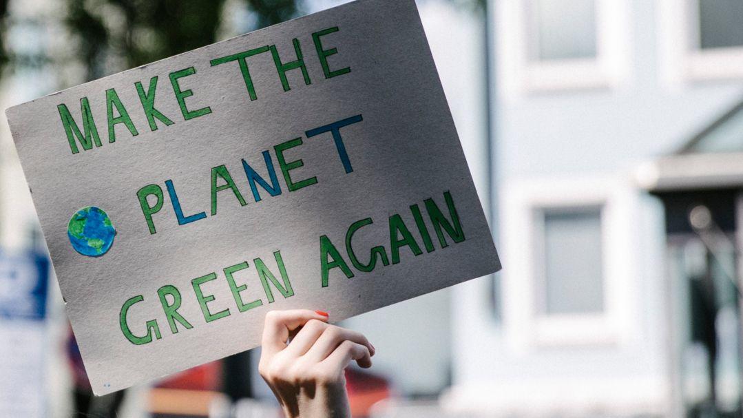"""Klimaaktivistin hält Schild hoch mit der Aufschrift """"Make the planet green again"""" (Symbolbild)"""