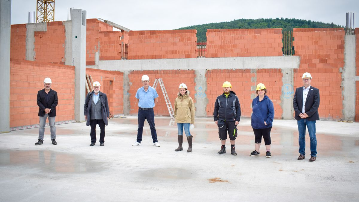 Der Rohbau der neuen Werkstätte in Nantenbach im Landkreis Main-Spessart.