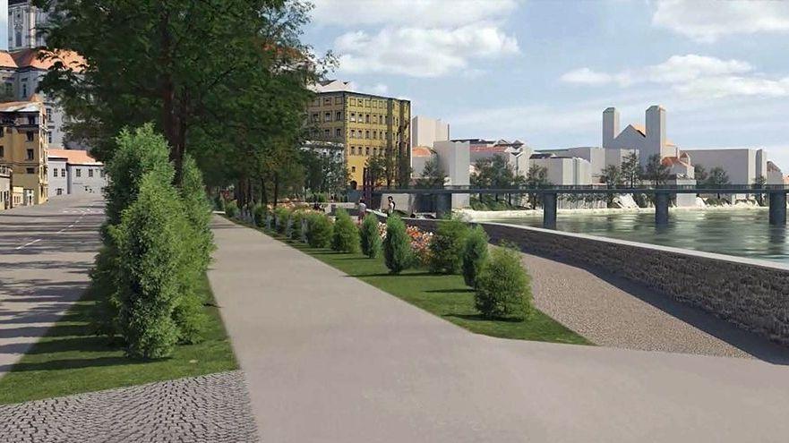 Das Bild zeigt einen Entwurf von der Passauer Innpromenade, wie sie nach der Umgestaltung künftig aussehen könnte.