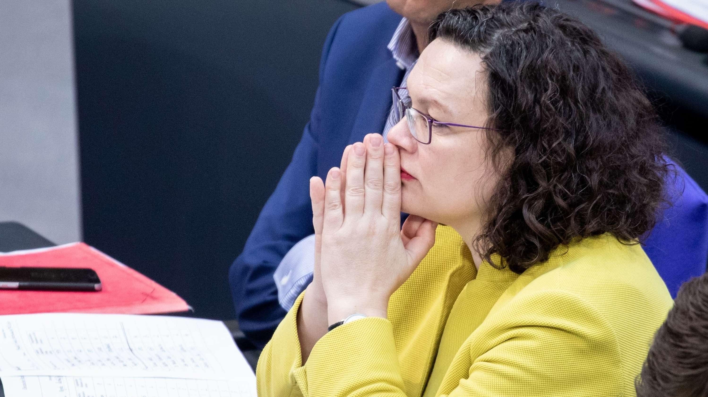 SPD-Parteivorsitzende Andrea Nahles bei einer Sitzung des Bundestages