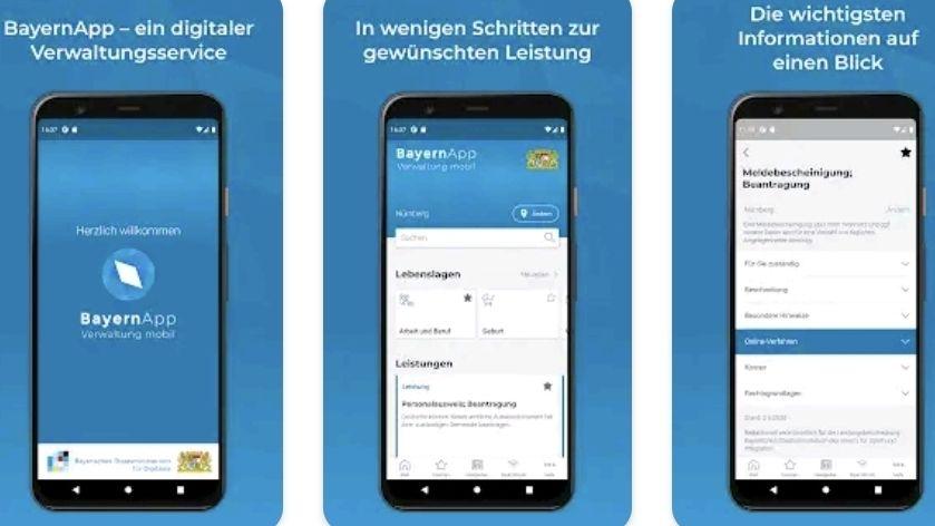 Drei Smartphones mit verschiedene Seiten der BayernApp