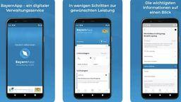 Drei Smartphones mit verschiedene Seiten der BayernApp   Bild:BR