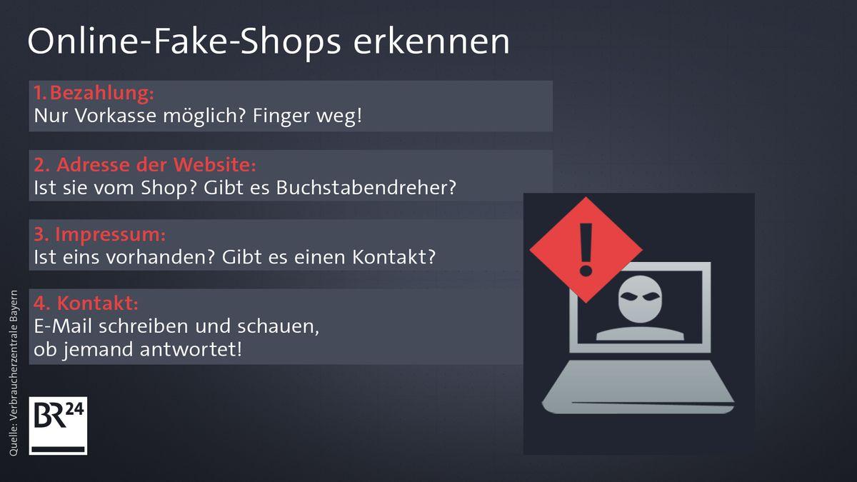 Eine Grafik mit Tipps, wie man Online-Fake-Shops erkennen kann