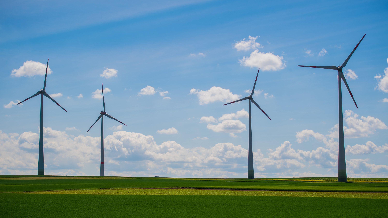 Vier Windkraftanlagen stehen auf einem Feld.