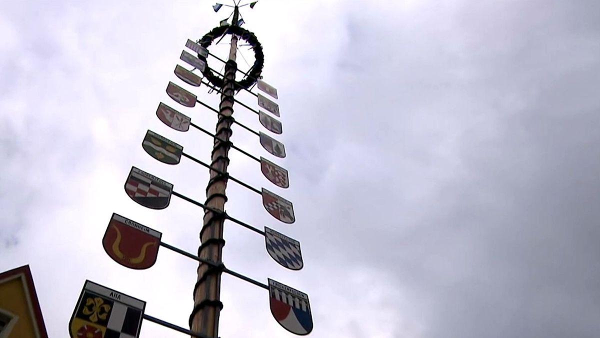 Maibaum in Franken mit vielen Schildern