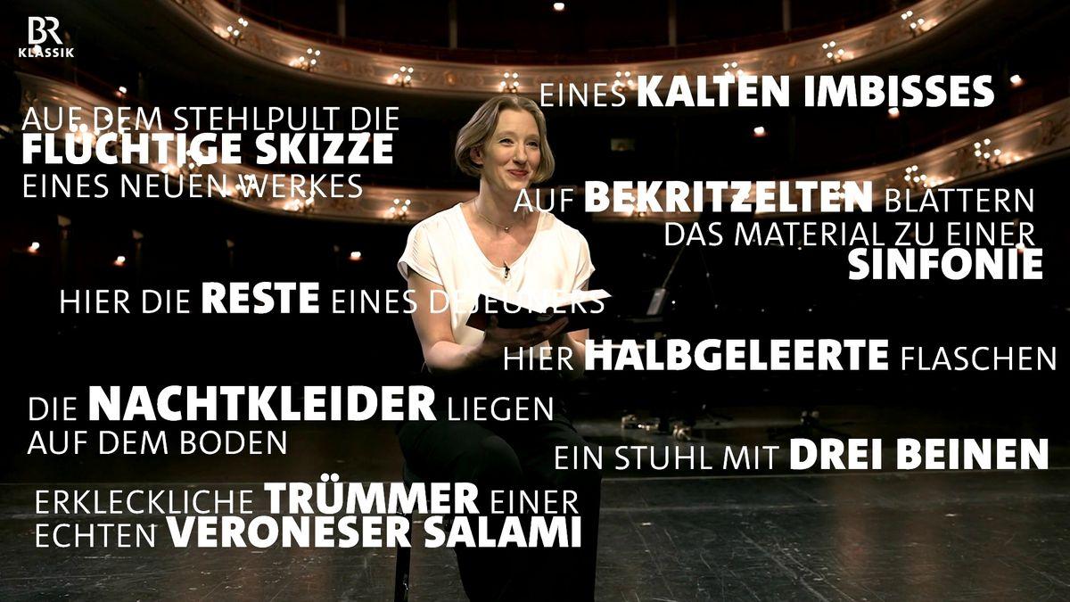 Joana Mallwitz im Opernhaus in Nürnberg, umgeben von Zitaten