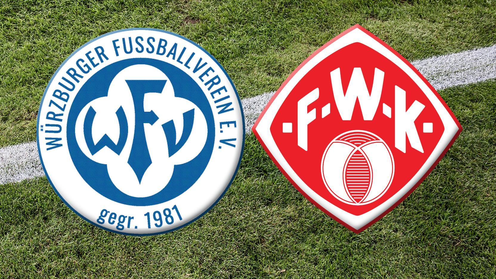 Logos der Fußballvereine Würzburger FV und Würzburger Kickers