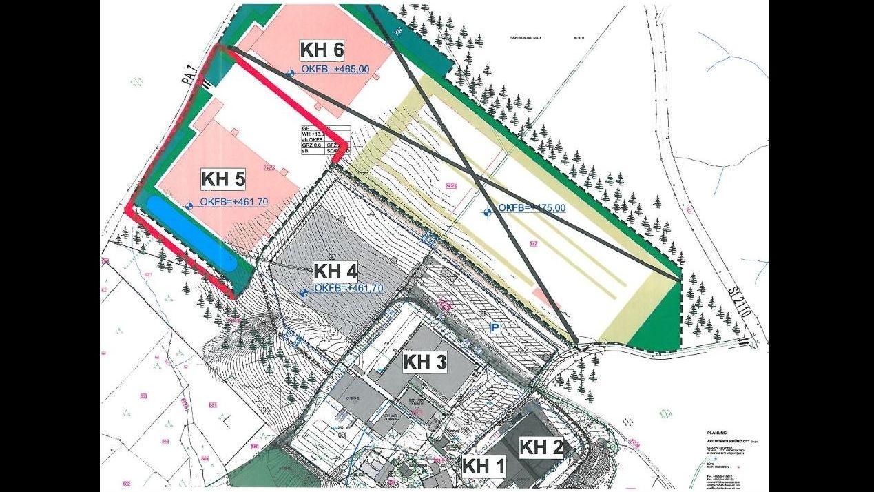 Eine Karte mit dem Bauplan - Ein Teil ist durchgestrichen