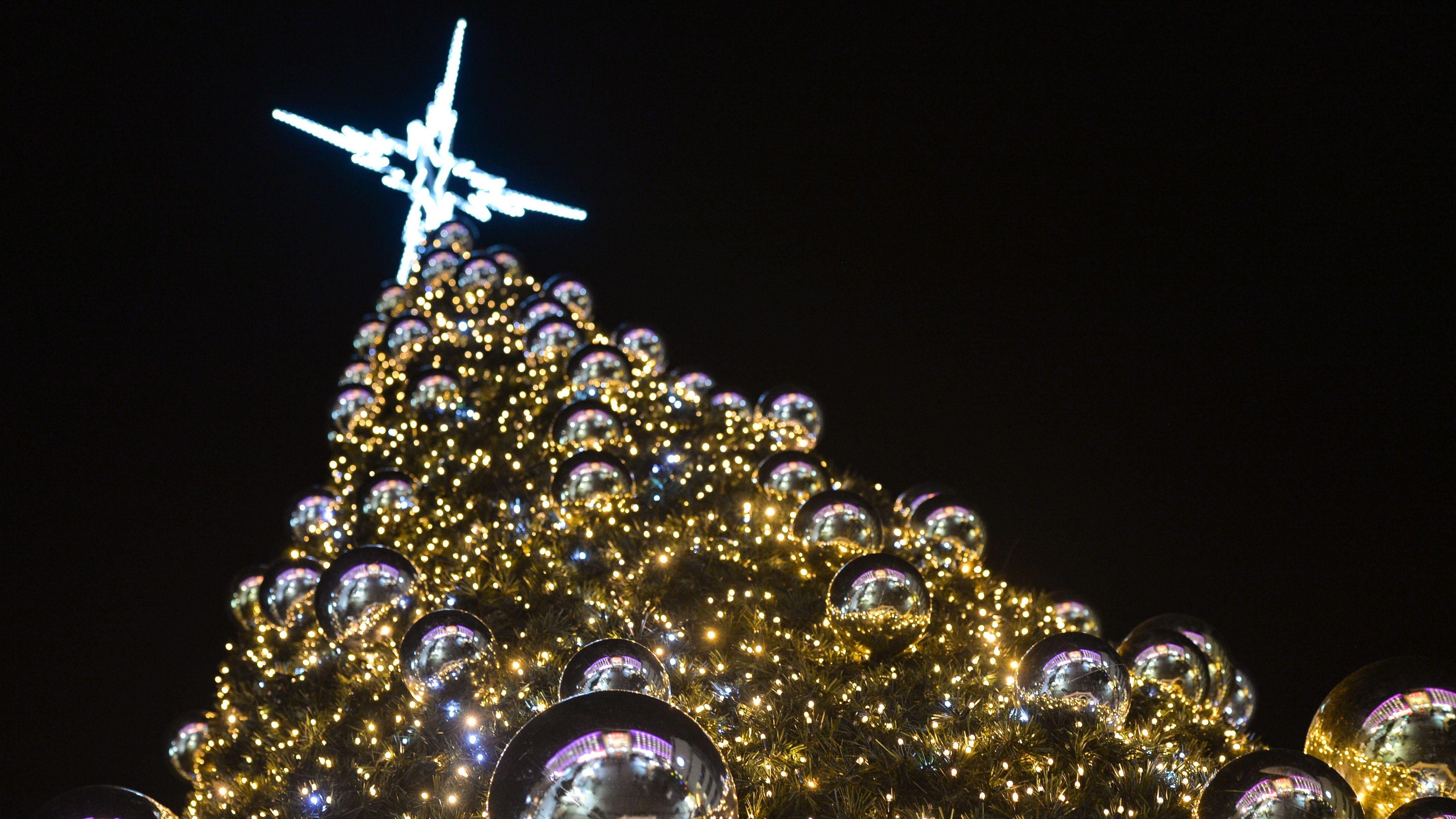 Blick von unten auf einen geschmückten Weihnachtsbaum.