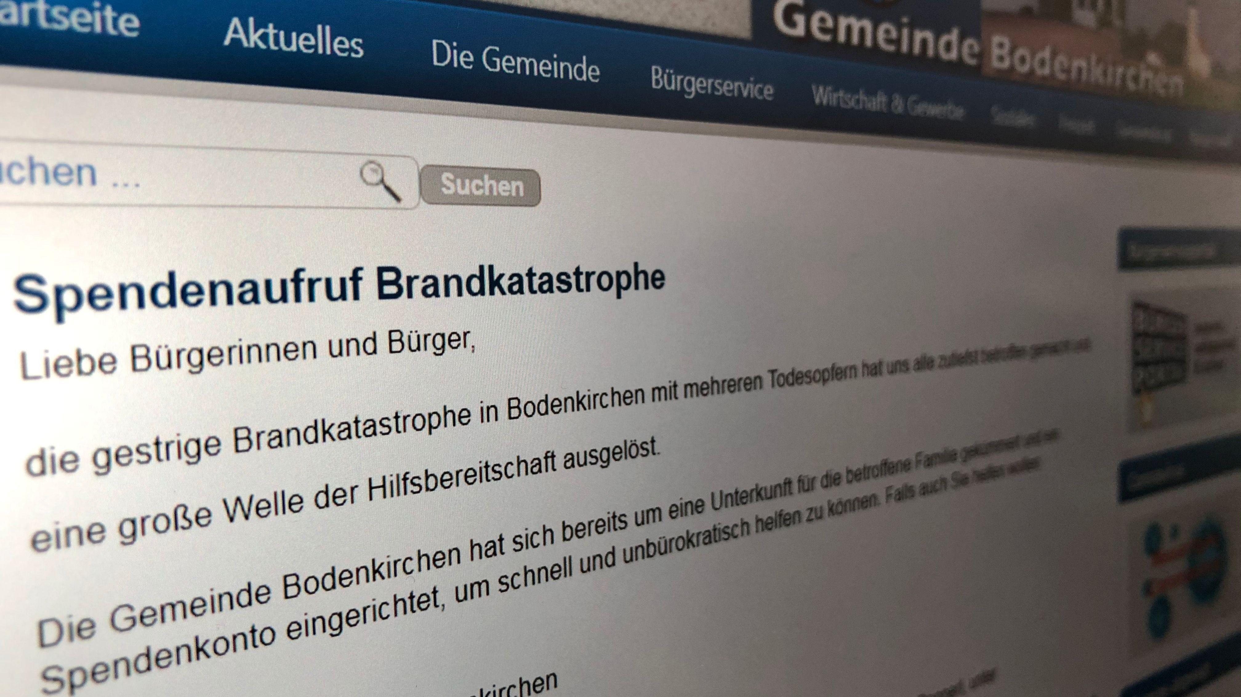 Auf der Internetseite der Gemeinde Bodenkirchen gibt es einen Spendenaufruf für die hinterbliebene Familie