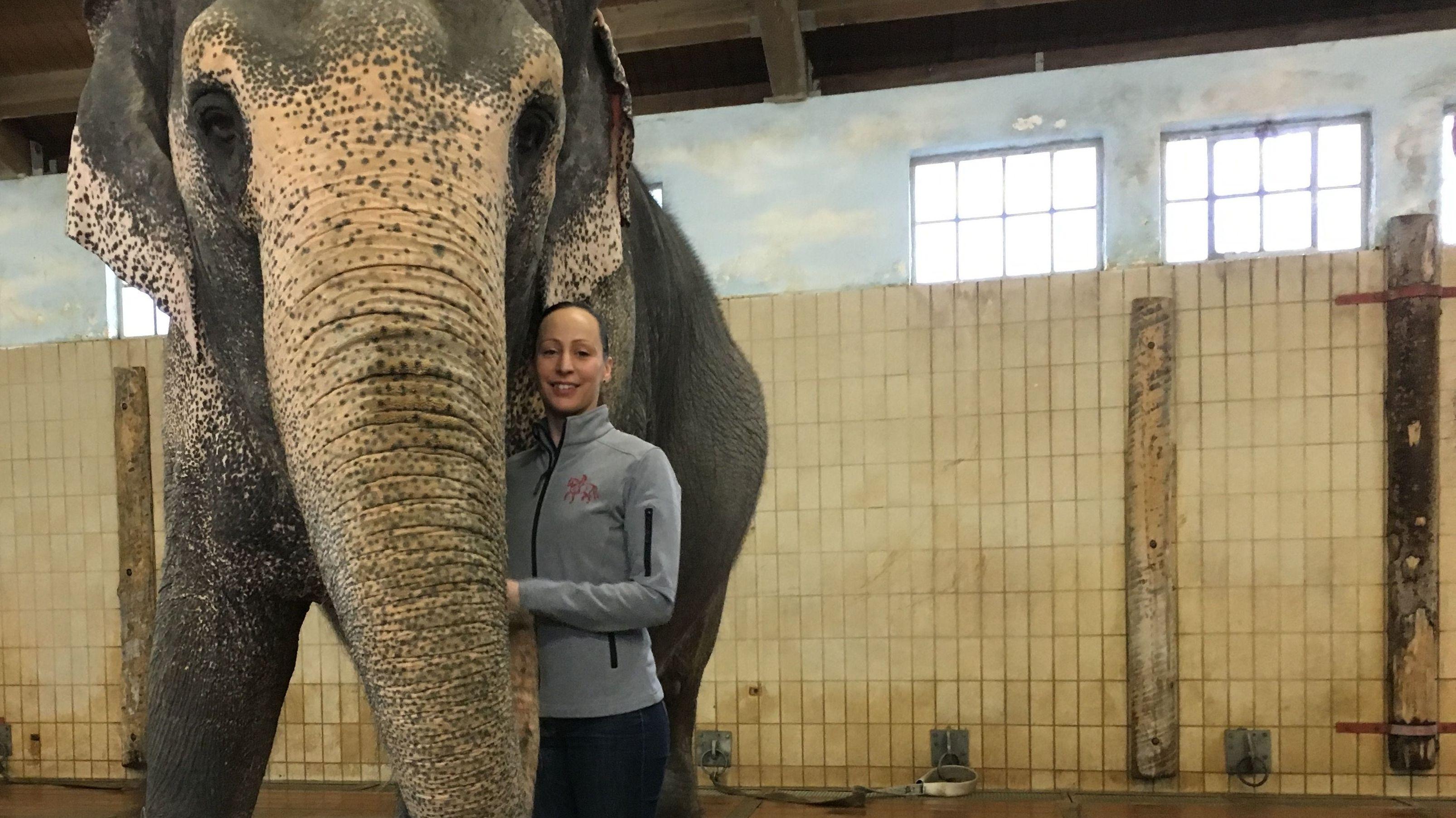 Zirkusdirektorin Jana Mandana Lacey-Krone mit einem Elefanten im Stall