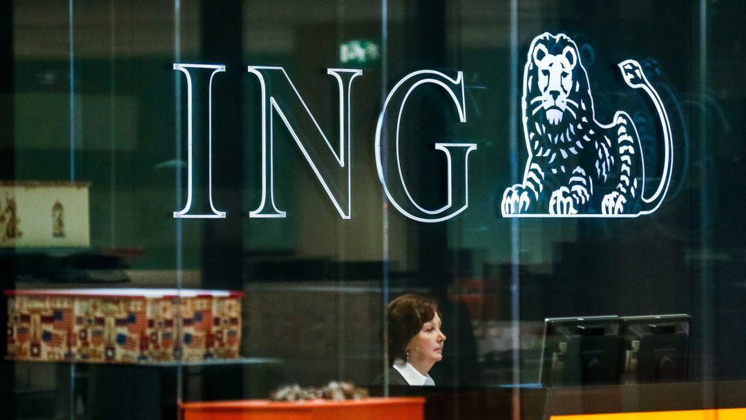 Gesamtansicht des Logos der ING Bank am Hauptsitz der Bank in Brüssel.