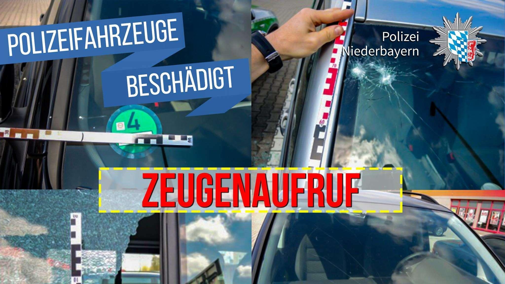 """Eine Fotocollage von den beschädigten Autos und der Schriftzug """"Zeugenaufruf"""""""
