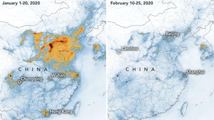 NASA-Bilder zeigen deutlichen Rückgang der Luftverschmutzung in China vor und nach dem Coronavirus-Ausbruch