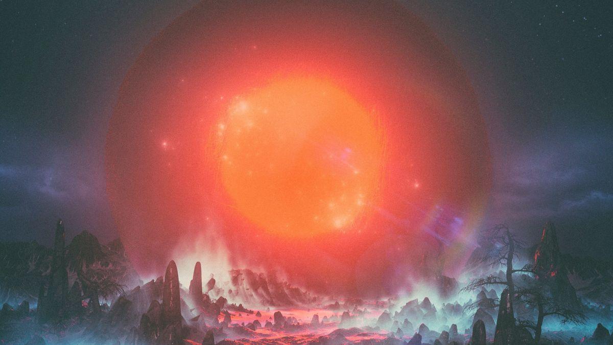 Der Ausschnitt zeigt eine riesige blendende Sonne, die auf eine Landschaft ausstrahlt, die nur in Ansätzen zu erkennen ist.
