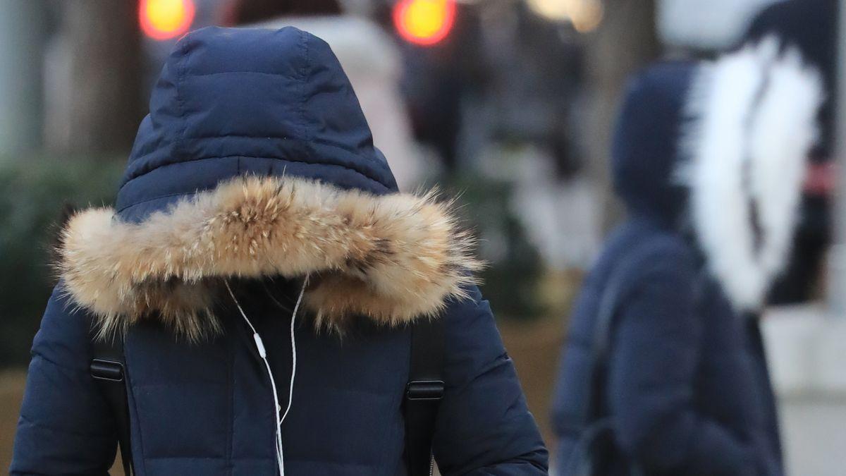Eine Winterjacke mit Pelzbesatz.