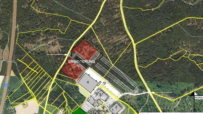 Luftaufnahme des Firmengeländes Brummer mit Kennzeichnung des Erweiterungsvorhabens