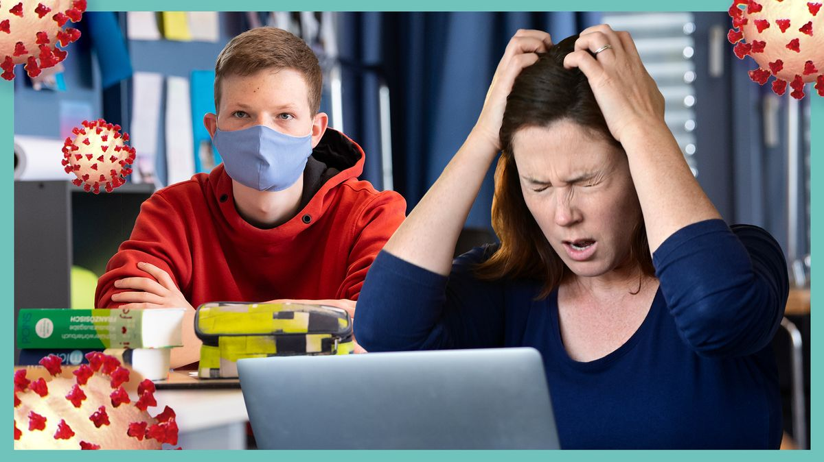 Eine Frau rauft sich verzweifelt die Haare, sie kneift die Augen fest zusammen. Im Hintergrund ein Schüler mit Alltagsmaske. Dazu grafische Darstellungen des Coronavirus.