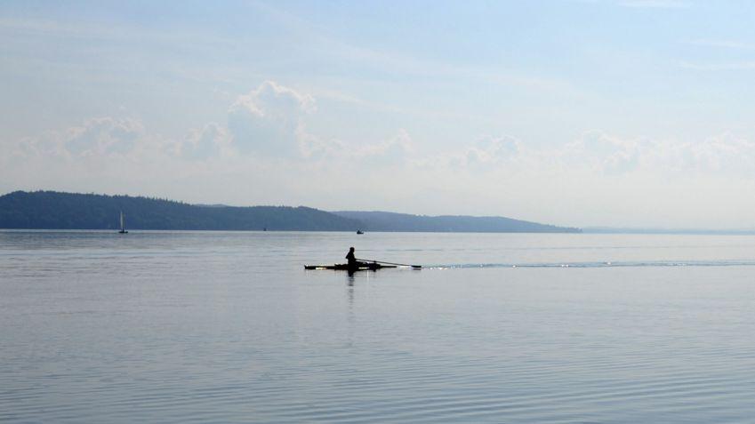 Ruderer auf dem Starnberger See.