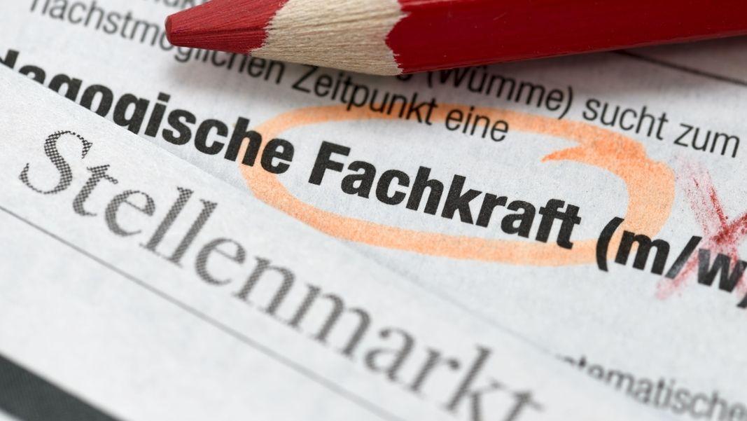 """Der Stellenmarkt einer Zeitung mit dem orange-eingekreisten Wort """"Fachkraft""""."""