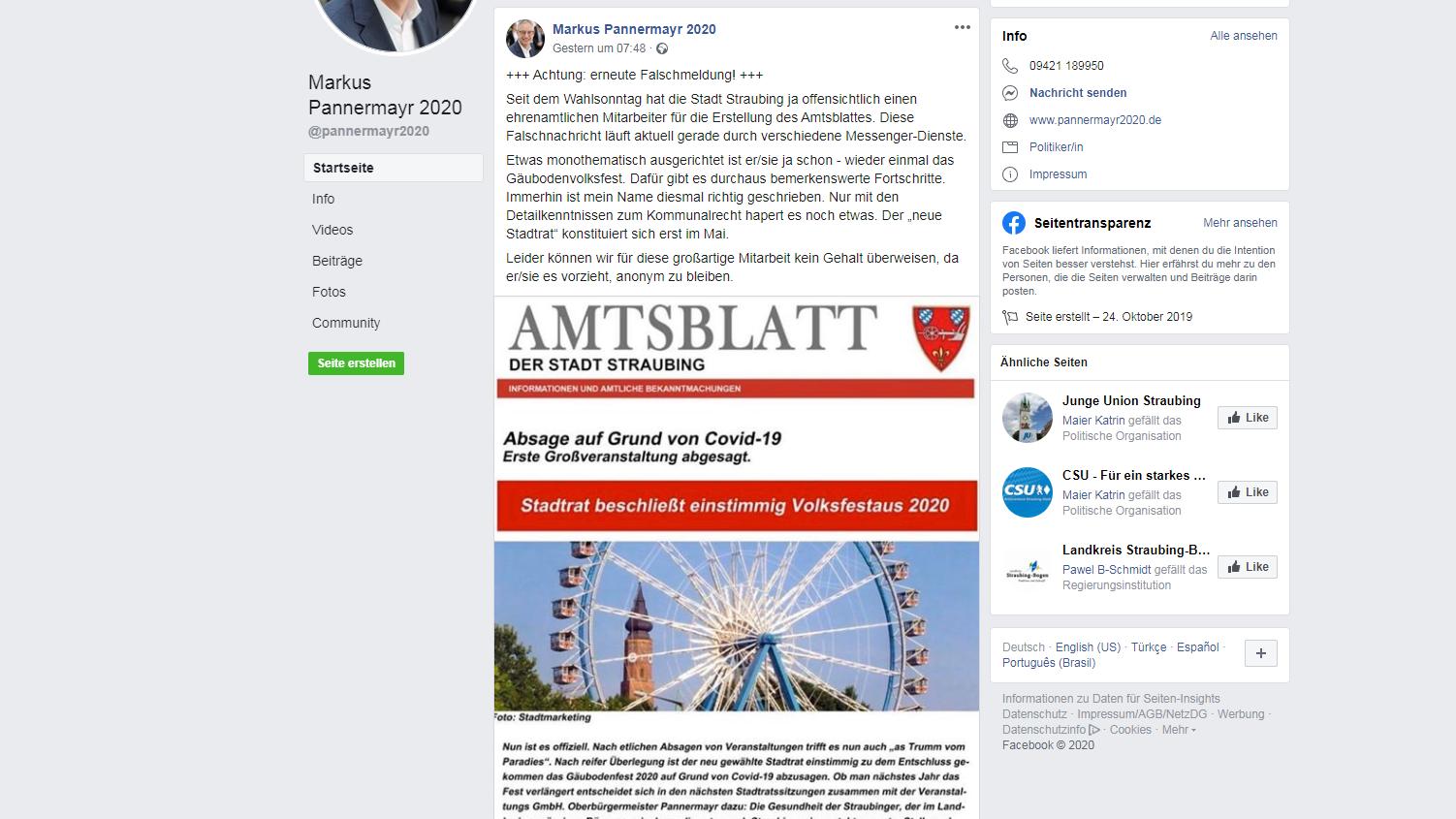 Screenshot des Facebook-Posts von OB Pannermayr